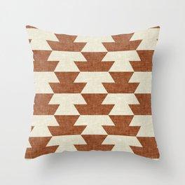 boho geometric aztec in ginger Throw Pillow