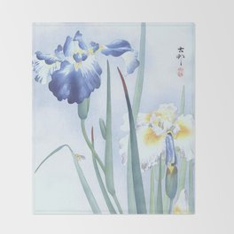 Bee And Blue Iris Flowers - Vintage Japanese Woodblock Print Art By Ohara koson Throw Blanket