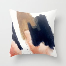 Drift Away [2] - a mixed media abstract piece in pink, brown, and purple Throw Pillow