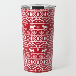 Westie fair isle west highland terrier christmas holiday gifts dog pattern Travel Mug