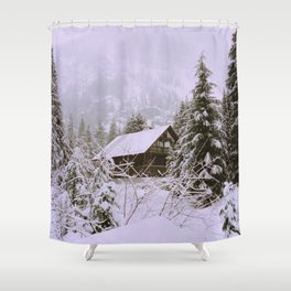 A cabin amongst the snow Shower Curtain