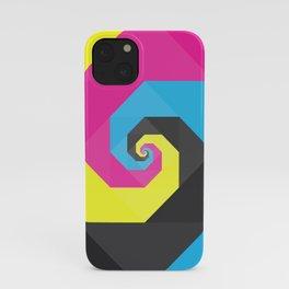 CMYK triangle spiral iPhone Case