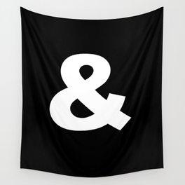 White Ampersand Symbol On Black Wall Tapestry