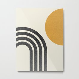 Mid century modern Sun & Rainbow Metal Print