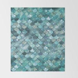 Mermaid Scales Aqua Turquoise Mermaid Pattern Throw Blanket