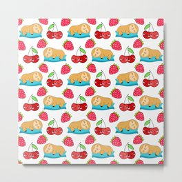 Cute funny sweet adorable little sleeping baby sloths, little cherries and red ripe summer strawberries cartoon fantasy white pattern design Metal Print