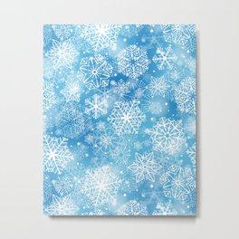 Snowflakes on blue  Metal Print