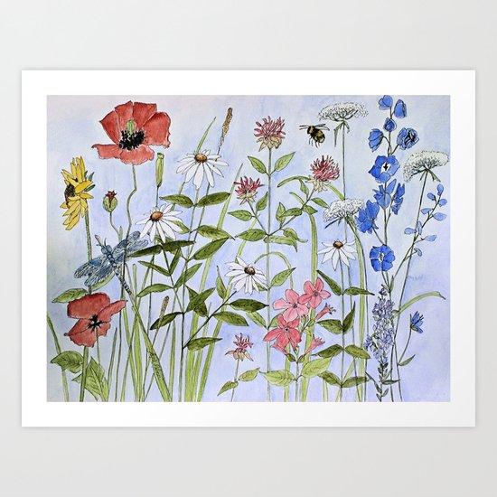 Wildflower Botanical Garden Flower Blue Skies Watercolor by betweentheweeds