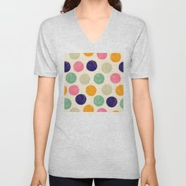 Palette of Colorful, Textured Paint Circles Pattern Unisex V-Neck
