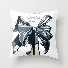 Fashion illustration with high heel shoe and bow. I am limited edition Throw Pillow