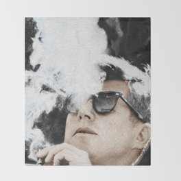 JFK Cigar and Sunglasses Cool President Photo Photo paper poster Color Throw Blanket
