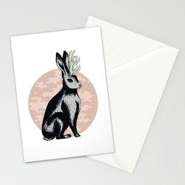 Black and pink Jakalope lllustration Stationery Cards