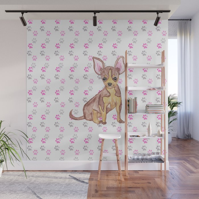 Cute Chihuahua Puppy in Watercolor and Paw Prints Wall Mural