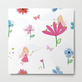 Summer Flowers, Butterflies and Fairy Pattern Wallpaper Metal Print