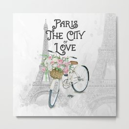 Vintage Paris Bicycle with Flowers Metal Print