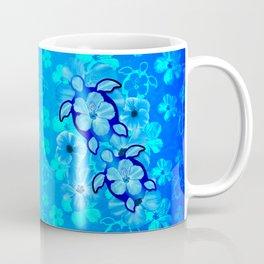 Tropical Hibiscus Flowers And Honu Turtles Coffee Mug