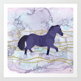 The Musical Horse Trotting Through the Rhythms of Nature Art Print