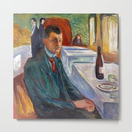 Edvard Munch - Self-Portrait with a Bottle of Wine Metal Print