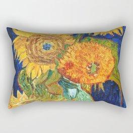 Van Gogh, Five Sunflowers 1888 Artwork Reproduction, Posters, Tshirts, Prints, Bags, Men, Women, Kid Rectangular Pillow