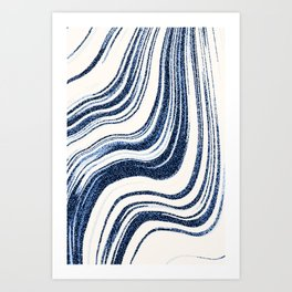 Textured Marble - Indigo Blue Art Print