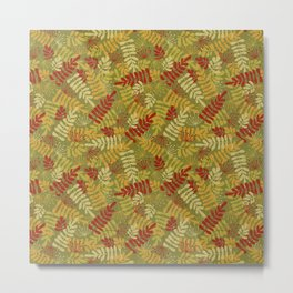 Green Red Yellow Leaf And Seeds Silhouettes Metal Print