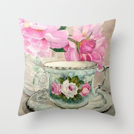 Hand Painted China Tea Cup and Roses Throw Pillow
