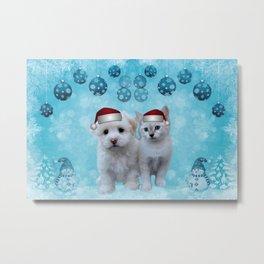 Christmas Cat and Dog Metal Print