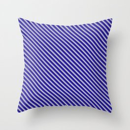 Slate Blue, Light Grey, Dark Slate Blue, and Dark Blue Colored Lined/Striped Pattern Throw Pillow