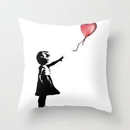 Banksy cosmic balloon Throw Pillow