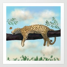 Sleepy Jaguar Hanging on a Branch Art Print