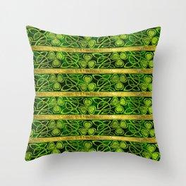 Irish Shamrock -Clover Gold and Green pattern Throw Pillow