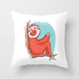 Sitting sloth on the tree Throw Pillow