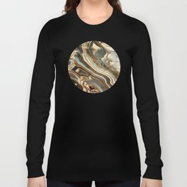 White Gold Agate Abstract Long Sleeve T-shirt