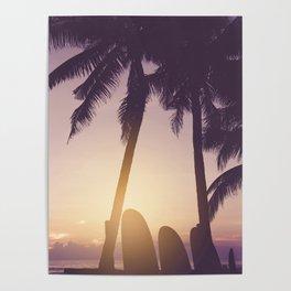 Surfer's Tropical Dreamscape - Coastal Sunset Landscape Poster