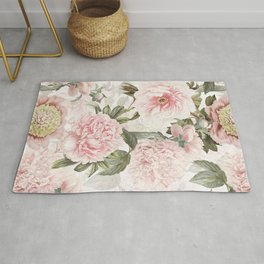 Vintage & Shabby Chic - Antique Pink Peony Flowers Garden Rug