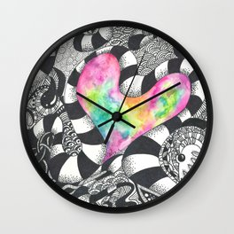 Watercolor Heart with Black and White Doodles Wall Clock