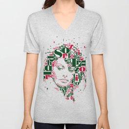 Sophia Loren Typographic Image Unisex V-Neck