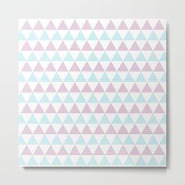 Triangles Pattern in Minty Rose Metal Print