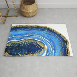 Cobalt blue and gold geode in watercolor (2) Rug