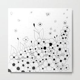 Flowers on the Floor Ink Art Metal Print