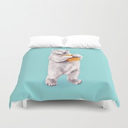 Smart Polar Bear Book Lover Duvet Cover