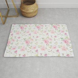Elegant blush pink white vintage rose floral Rug
