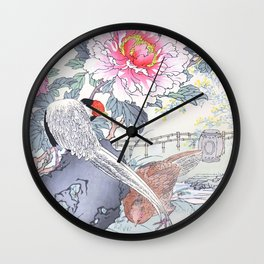 Couple Of Pheasants And Peony Flowers - Vintage Japanese Woodblock Print Art By Kono Bairei Wall Clock