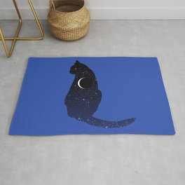 Cosmic Cat in Stars and Crescent Moon Pattern Rug