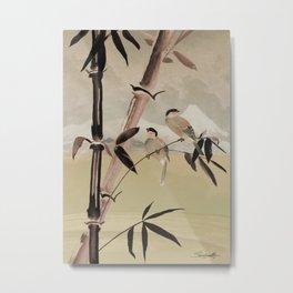 Two Birds in Bamboo Tree Metal Print