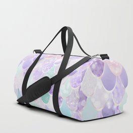 Cute Mermaid Pattern, Light Pink, Purple, Teal Duffle Bag