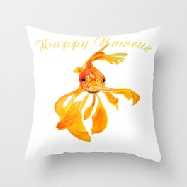 Happy Nowruz Persian New Year Goldfish Isolated Throw Pillow