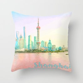 Watercolor painting of Shanghai waterfront Throw Pillow