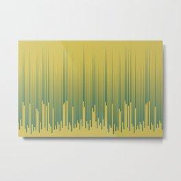 Tropical Dark Teal Minimal Frequency Line Art Inspired by Sherwin Williams 2020 Trending Color Oceanside SW6496 on Dark Yellow Metal Print
