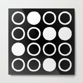 Mid Century Modern Circle and Dot Pattern 232 Black and White Metal Print